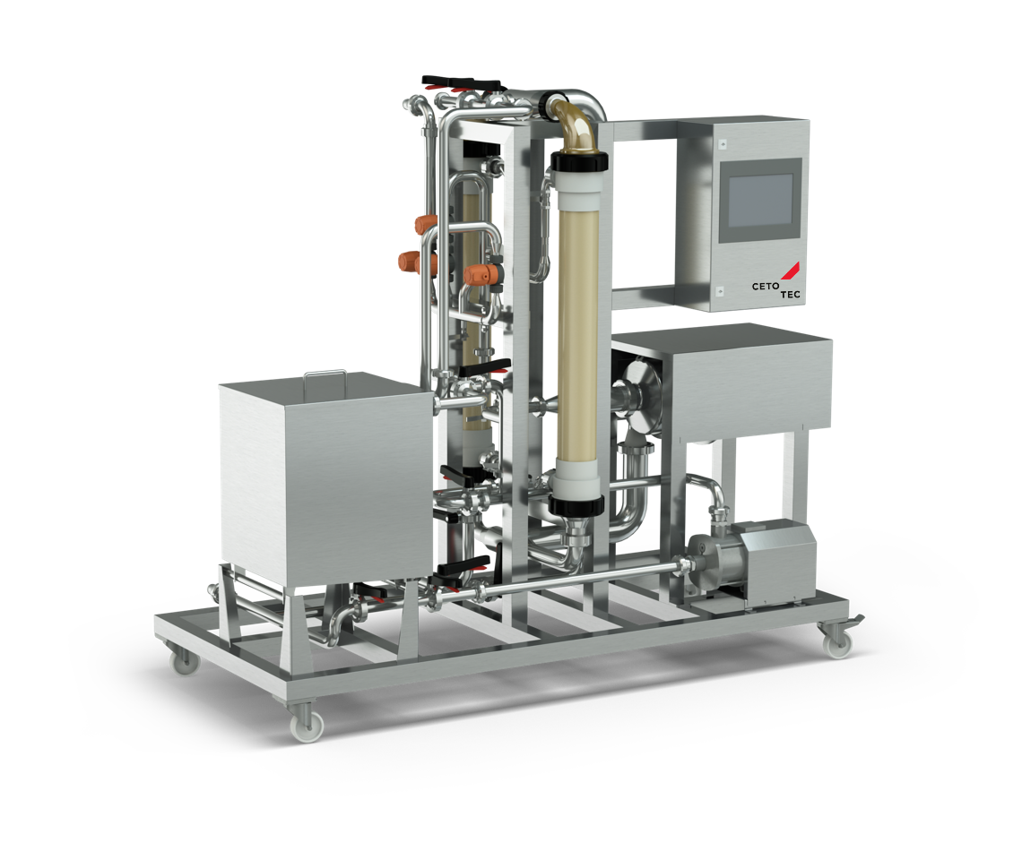 Crossflow filter for vinegar with high concentration of solid matter